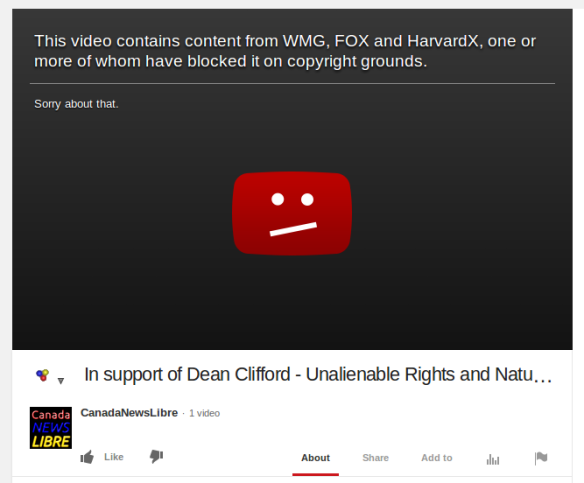 CanadaNews Video blocked on YouTube -   In Support of Dean Cloifford - Unalienable Rights and Natural Law for Sovereign Rational Minds