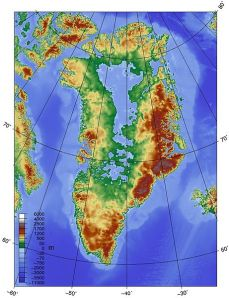 Topographic map of Greenland bedrock without the extant ice sheet, by Skew-t / wikimedia