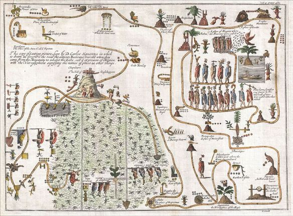 "Gemelli Careri's map of the Aztec migration from Aztlan to Chapultapec from ""Voyage Round the World"", 1704 / wikimedia"