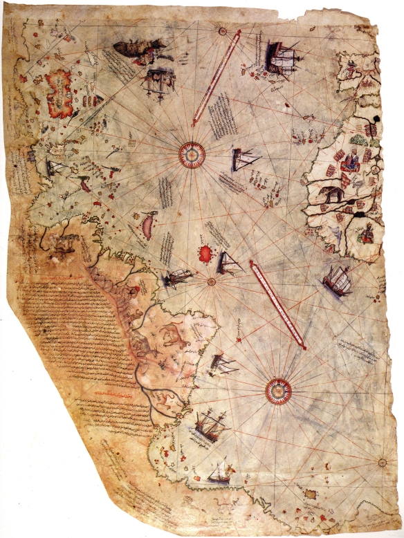 Map of the world by Ottoman admiral Piri Reis, drawn in 1513 - synthesizes information from twenty maps / wikimedia
