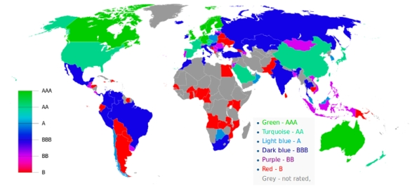 World countries by Standard & Poor's Foreign Rating by NovaNovaBn adapted by CNib / Wikimedia *