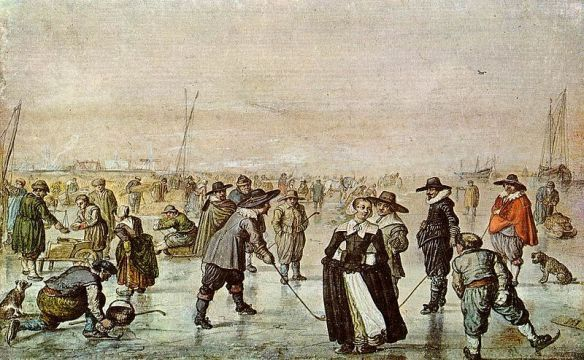 A Scene on the Ice, by Hendrick Avercamp (1585–1634) - Teylers Museum, Netherlands / Wikimedia *