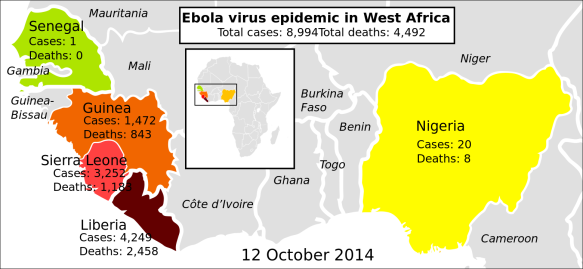 2014 ebola virus epidemic in West Africa by Mikael Häggström / Wikimedia *