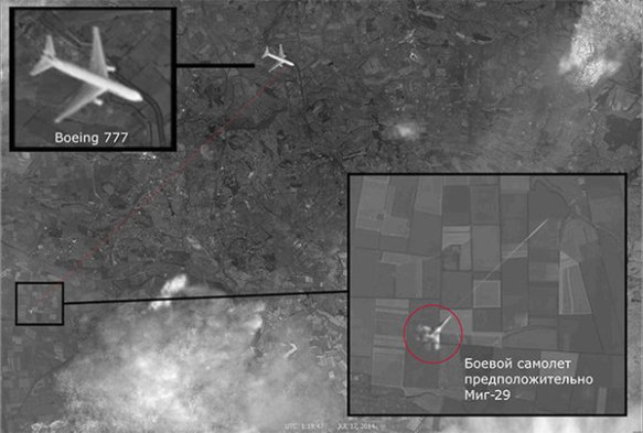 Satellite image clearly depicts the Malaysian Boeing and the attacking fighter, supposedly a MiG-29 / Source: Pravda.ru